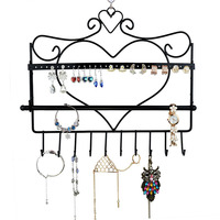 Wrought Iron Wall Mounted Frame Earrings Necklace Holder Stud Earring Accessories Storage Rack Jewelry Plaid Pavans