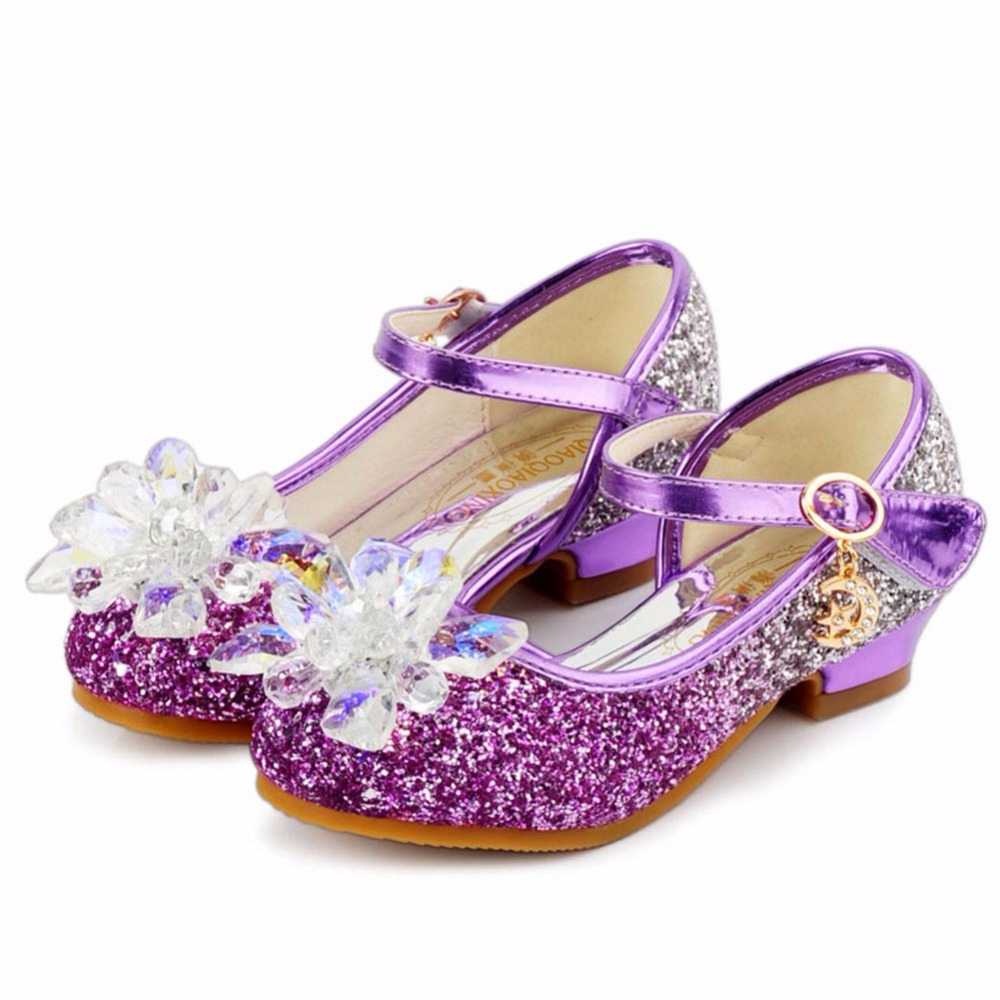 Little Girls Sparkling Mary Jane Kids Flower Bombas de tacón bajo - Zapatos de niños