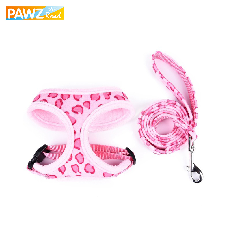 PAWZRoad Cute Pet Dog Arnés Juego de Correas de Leopardo Chalecos de Control de Seguridad Ajustables Pet Carrier Dog Cat Lead para cachorro Suministros para mascotas