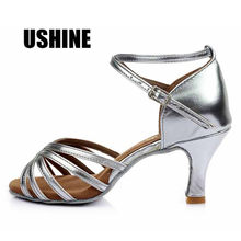 e8e8531c 802 talón 7 cm/5 cm plata satén Zapatos De Baile Latino Mujer Zapatos De