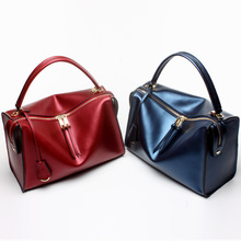 Women's cross-section leather two-way zipper closure small square package Europe and the United States style cowhide-small shoul europe and the united states style men s leather zipper long section of the clutch business casual men handbags