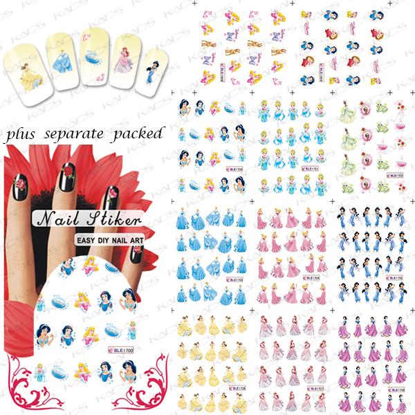 100 UNIDS/LOTE BLE1698-1708 Princesa de Dibujos Animados Patrón de Impresión de Transferencia de Agua pegatinas de uñas agua Nail Art Sticker Decal
