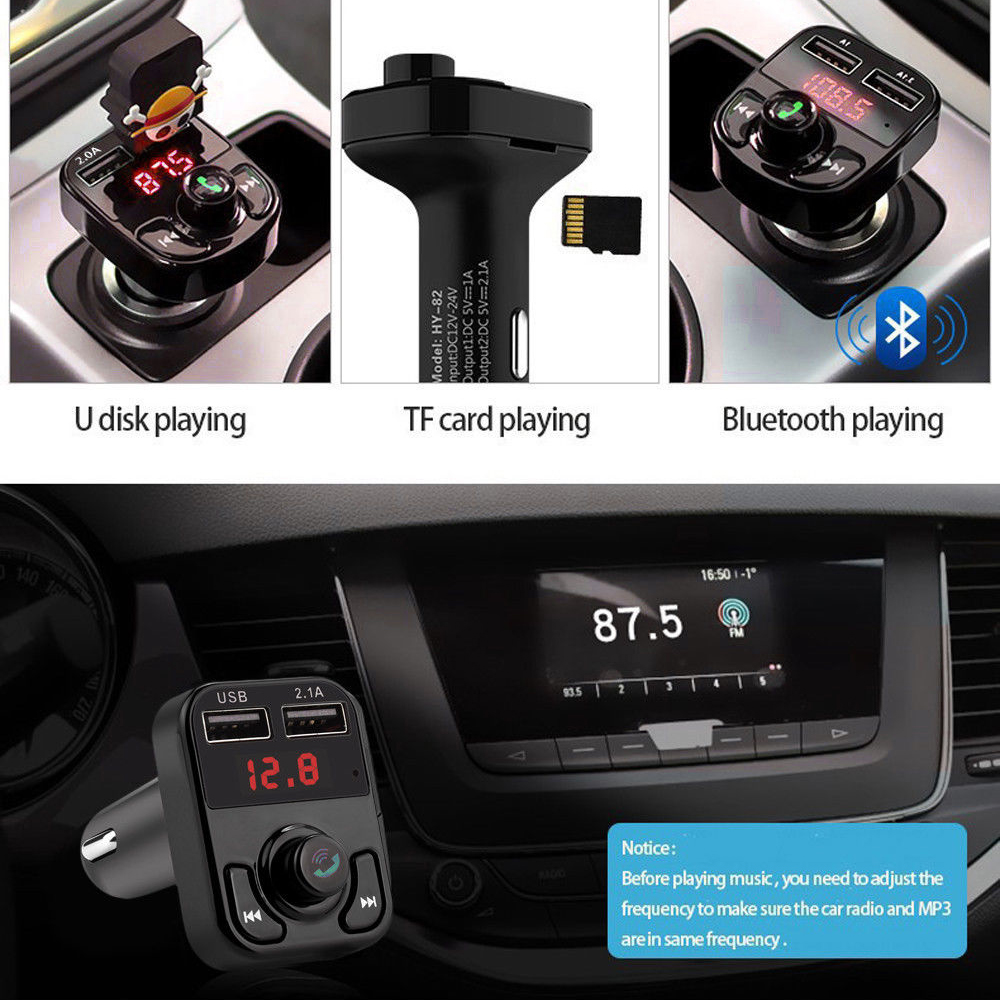 Dual USB <font><b>Bluetooth</b></font> Handsfree <font><b>Car</b></font> Kit <font><b>Charger</b></font> <font><b>FM</b></font> <font><b>Transmitter</b></font> <font><b>MP3</b></font> Player TF Card Wireless <font><b>Bluetooth</b></font> Audio <font><b>Adapter</b></font> image