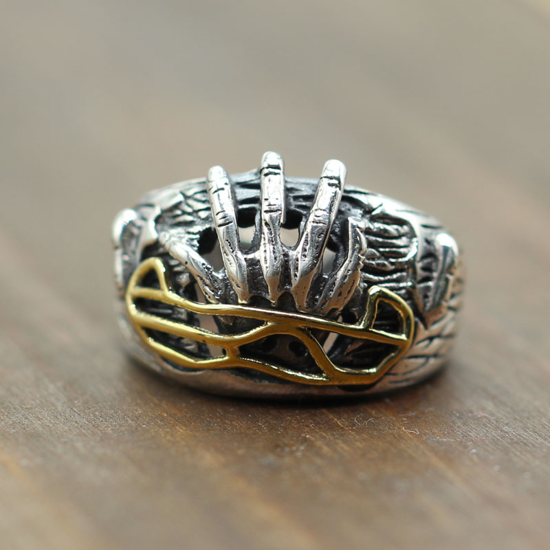 S925 Sterling Silver Ring Carved reborn man domineering personality hell Thai silver jewelry Retro Old ring opening s925 sterling silver skull ring metrosexual officers personality of world war ii punk man retro silver ring opening