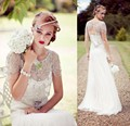 New Arrival 2017 Vintage Wedding Dresses Lace A Line Beading Bride Gowns With Short Sleeves Sweep Train Bridal Gowns