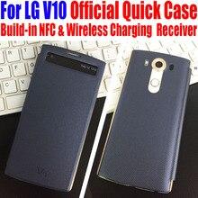 Для LG V10 лучшее качество быстрый случае официальный Smart View Флип Кожа PU задняя крышка для LG V10 нет: LGV1