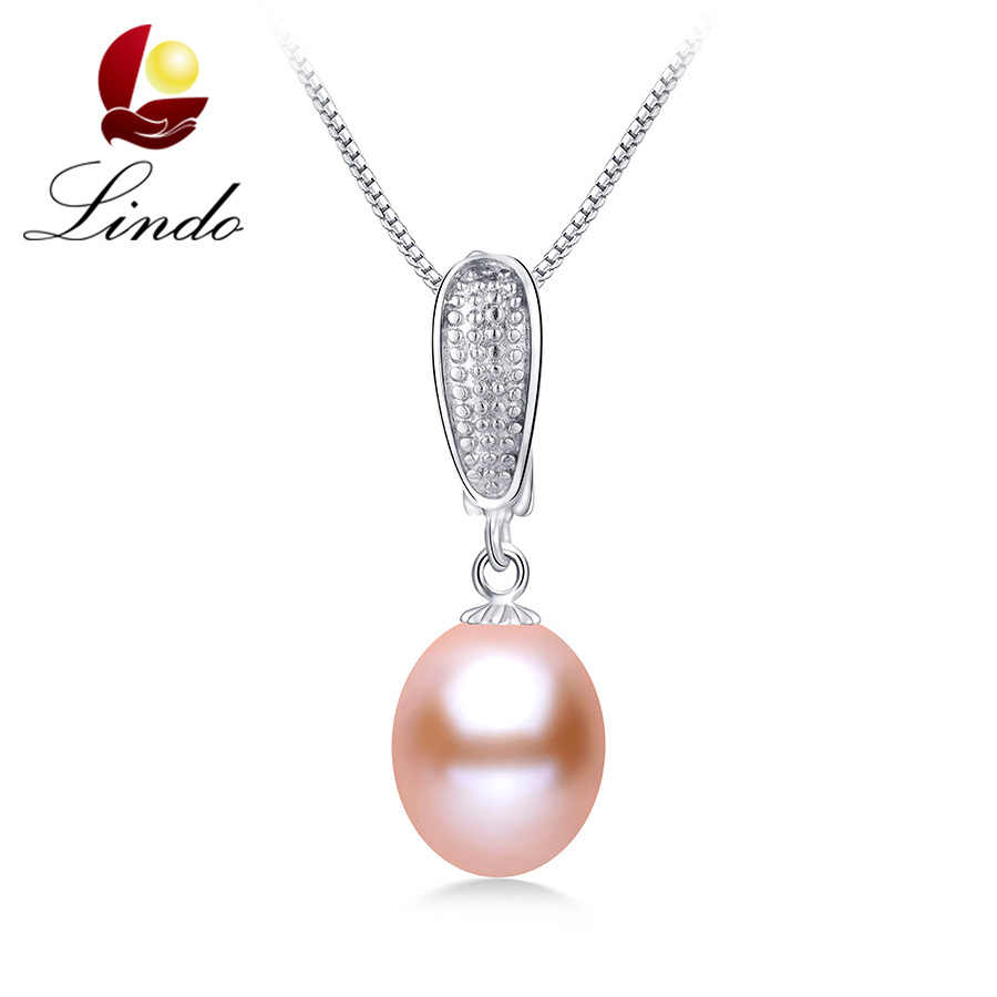 Lowest Price 8-9mm High Luster Natural Freshwater Pearl Necklace Pendants Drop Women 925 Sterling Silver Jewelry New With Box