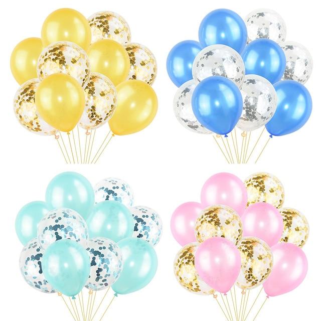 10 шт., разноцветные латексные шары с конфетти