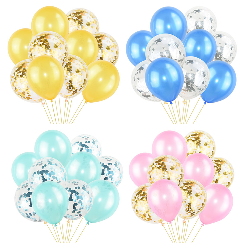 10Pcs Mixed Confetti Balloons Happy Birthday Party Helium Balloon Decorations Wedding Festival Latex Supplies