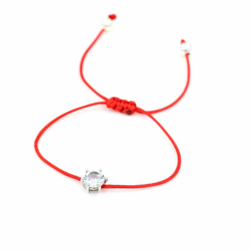 ANILLO 女性赤ロープ糸文字列のブレスレットシルバー色 Aaa キュービックジルコニアラッキー編組魅力調節可能なブレスレット