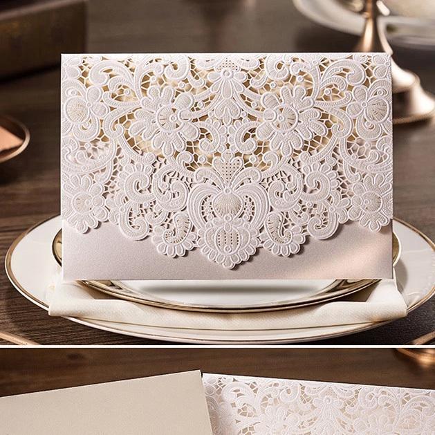 Elegant Wedding Invitation Design: 50Pcs/Pack Design Rustic Romantic Relief White Elegant