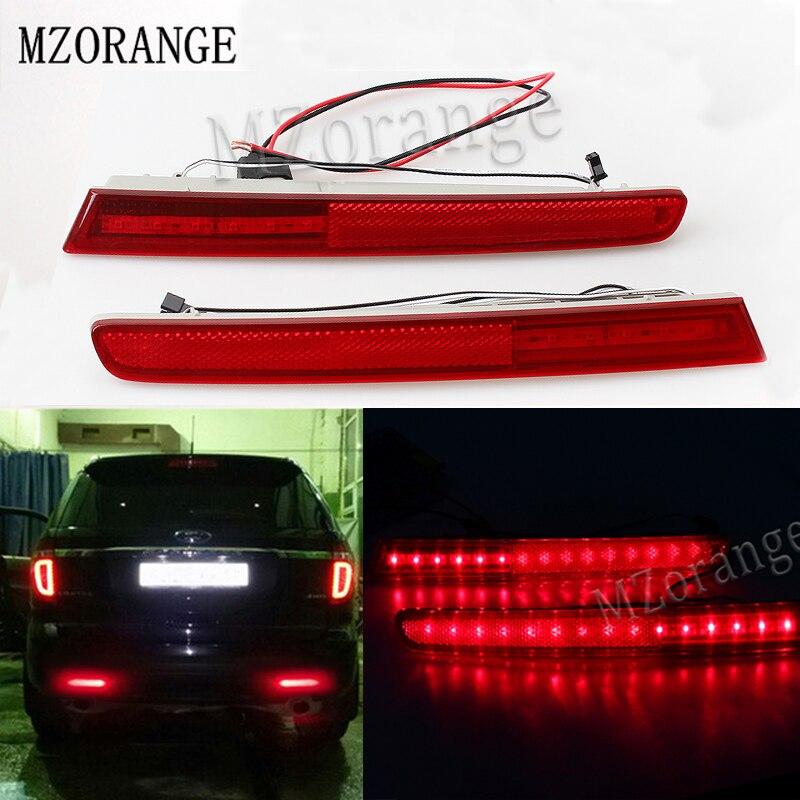 Car Red Lens Left/Right Sides LED Bumper Reflectors Rear Fog Lights Stop Lamp For 2011 2012 2013 2014 2015 Ford Explorer