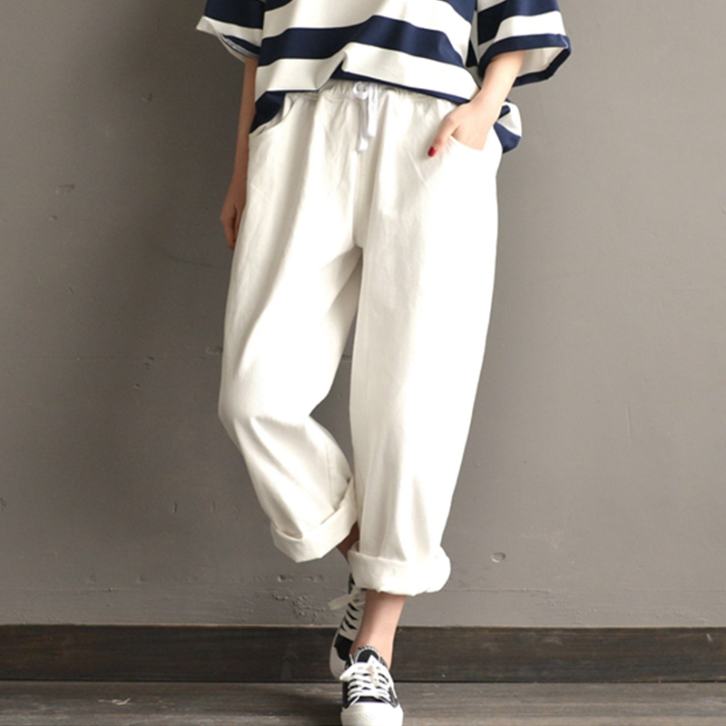 2018 Summer SCHMICKER Women Casual High Elastic Waist Party   Wide     Leg     Pants   Solid Loose Cotton Harem Pantalon Trousers Plus Size
