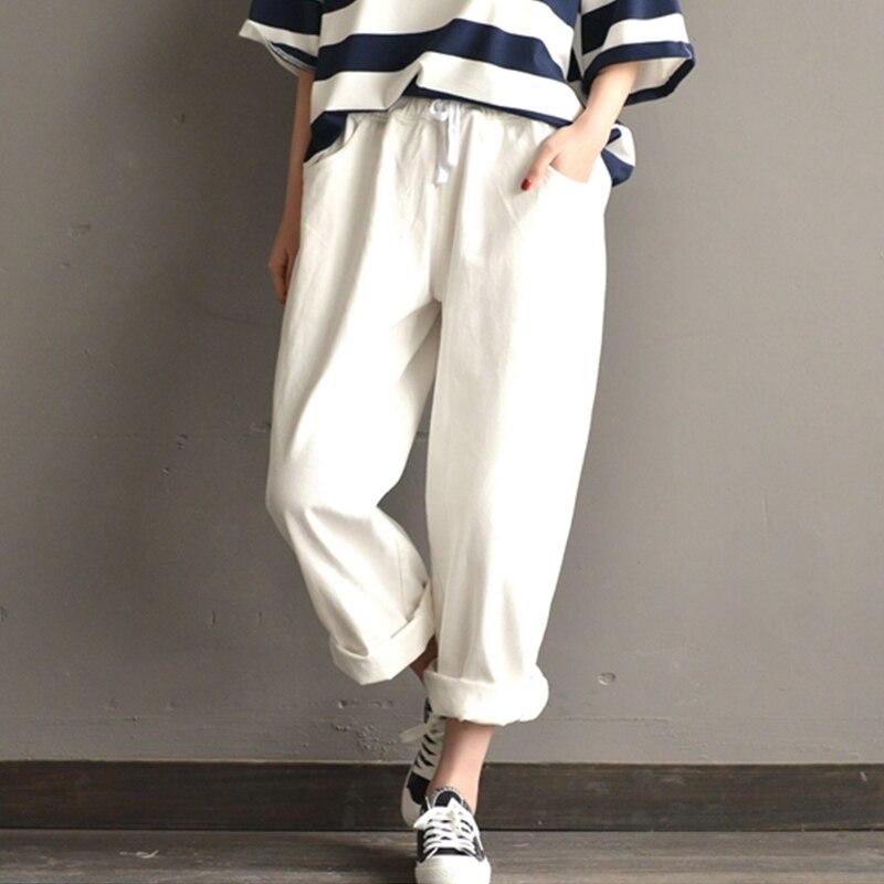 2019 Summer SCHMICKER Women Casual High Elastic Waist Party Wide Leg Pants Solid Loose Cotton Harem Pantalon Trousers Plus Size