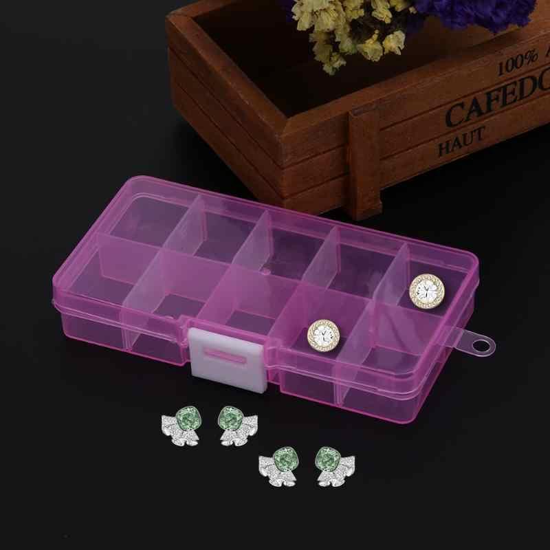 10 izgaralar yeni ayrılabilir şeffaf plastik saklama kabı küçük bileşen takı saklama kutusu boncuk hapları organizatör Nail Art İpucu kılıfı