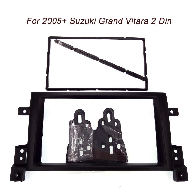Free shipping Top Quality Double 2 Din Car Fascia For Suzuki Grand Vitara 2005+ Face Frame Kit Cover Radio Stereo Panel