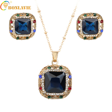 Luxury Square Jewelry Sets Silver Color Blue Rhinestone Top Quality Engagement Necklace Earring Silver Bridal Jewelry Sets