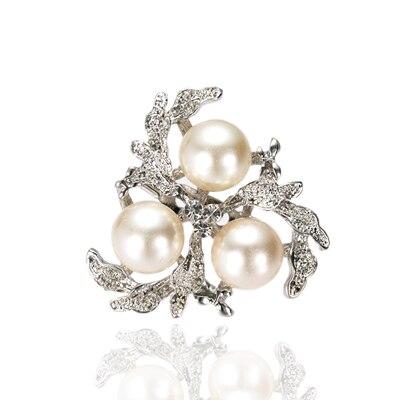 Родий Серебряный тон кремовый или белый жемчуг и прозрачный горный хрусталь, страз Диамант цветок брошь шпильки на вечеринку - Окраска металла: Cream Pearl