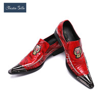 Christia Bella Brand Fashion Men Oxford Shoe Genuine Leather Metal Toe Red Wedding Dress Shoes Plus Size Party Male Formal Shoes