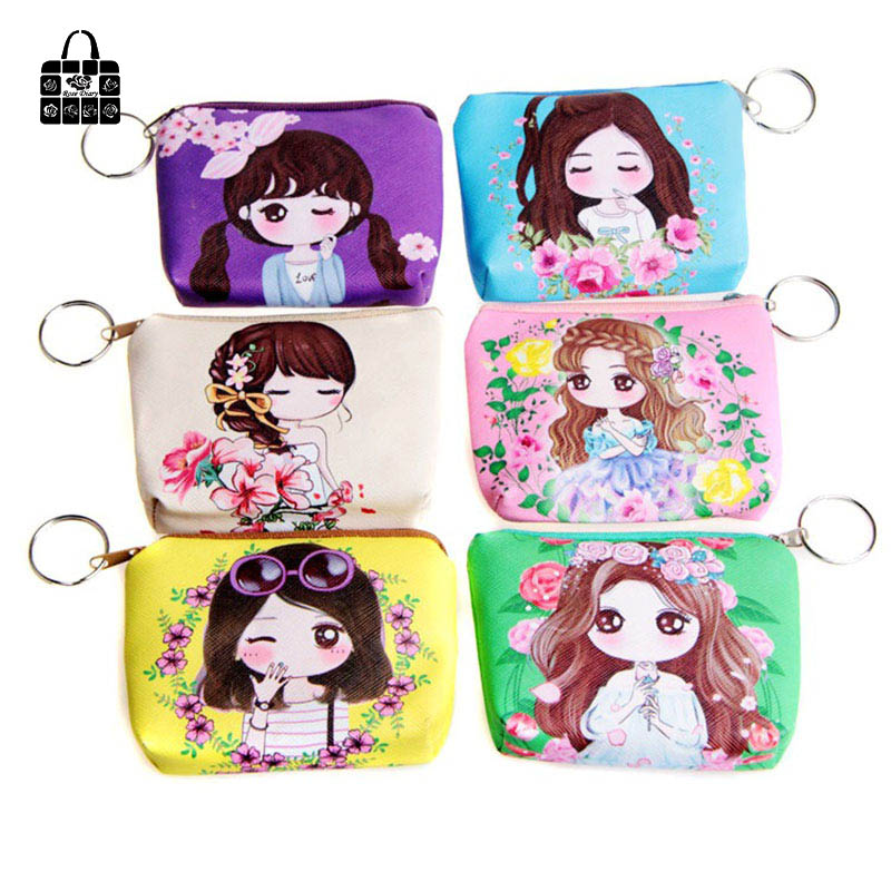 1 pcs RoseDiary Women cartoon Coin Purse PU Leather children Wristlet lady Wallet Girl Change Pocket Pouch zipper Bag Keys Case стоимость