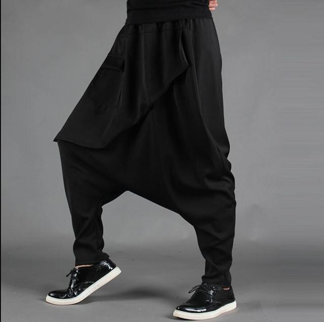 f2586e34e5b Асимметричная юбка Штаны Мужские Модные шаровары мужские Брюки Хомбре  Брюки-Карго Облегающие штаны для мужчин