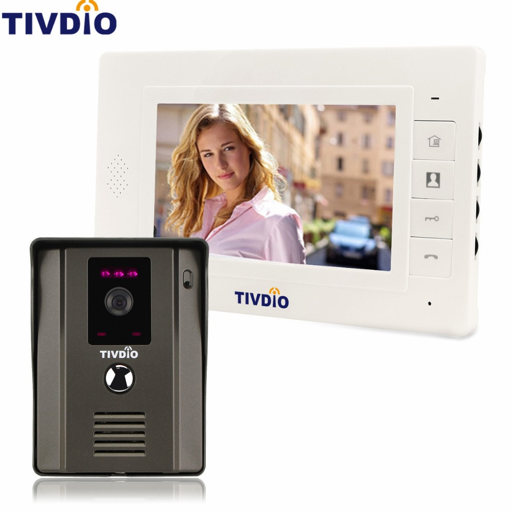 TIVDIO Video Intercom 7 Color Video Door Phone Entry System IR Night Vision Camera Doorbell Kit Video For Apartment F9504B 7 color video door phone intercom system 1 monitor doorbell 2 camera intercom kit ir night vision camera for apartment 816a21