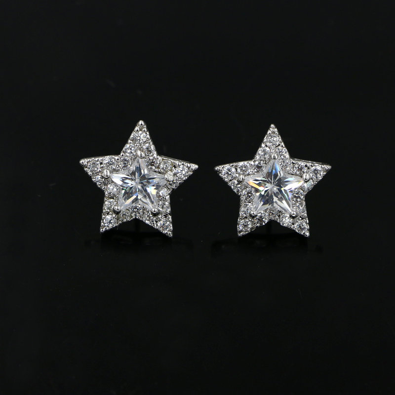 Small Cute Austrian Crystal Zircon Star Shaped Stud Earrings 925 Sterling Silver Needle Clear Cz Stone For Women In From Jewelry Accessories