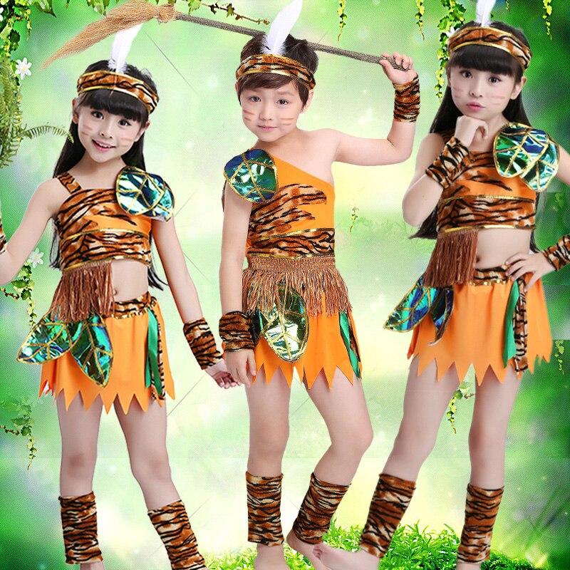 Effizient Freies Verschiffen Kinder Hunter Kostüme Kinder Savage Caveman African Indischen Tribal Halloween Cosplay Dance Kleidung Für Jungen Mädchen üBerlegene Leistung