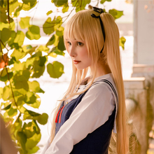 Saekano: How To Raise A Boring Girlfriend Eriri Spencer Sawamura 70cm Long Straight Cosplay Wig for Women Gold Claw Ponytail