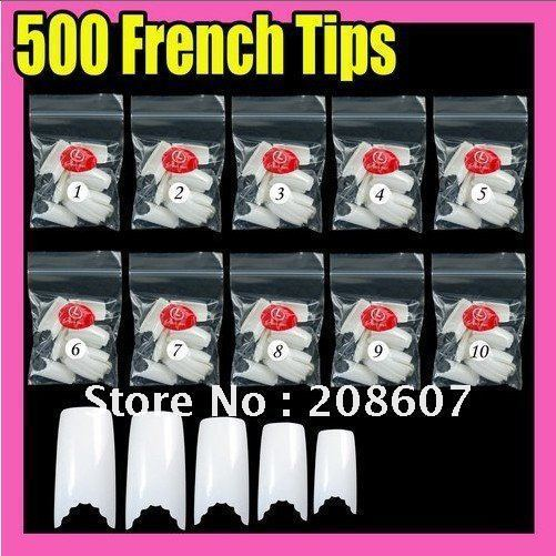 Fast & Free Shipping Wholesale & Retail 500 pcs Nail Art Gear French Fake Nail Tips