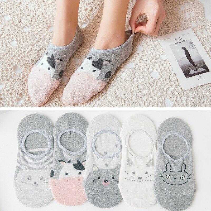 5 Pair/set Short Socks Women Summer No Show Ankle Socks Invisible Silicone Non Slip Boat Socks Funny Cute Animal Print Girl Sock
