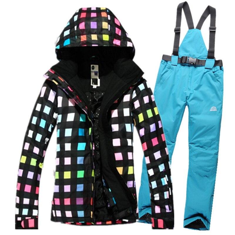 de gama Alta calidad de las mujeres chaqueta de snowboard de esquí traje de esquí en invierno de las mujeres respirables impermeables de esquí + pantalones