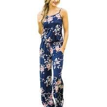 Спагетти ремень комбинезон Женщины Лето 2017 г. длинные штаны Цветочный принт Комбинезоны повседневные пляжные комбинезоны без рукавов Пояса комбинезоны