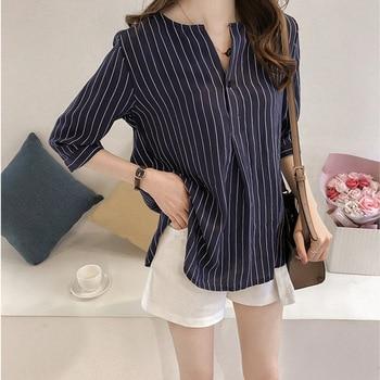 Arc Neckline Vertical Stripe Elegant Women Blouse Large Size Three-quarter Sleeve Show Collarbone Loose Slim Striped Shirt