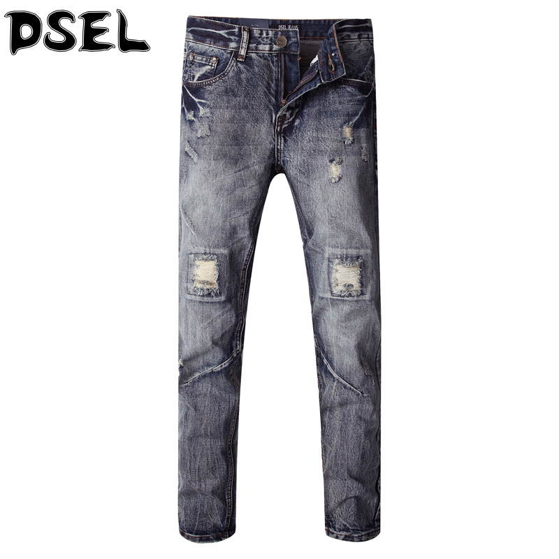 ФОТО Italian Style Fashion Men Jeans High Quality Slim Fit Denim Stripe Ripped Jeans Men DSEL Brand Frayed Hole Biker Jeans Pants