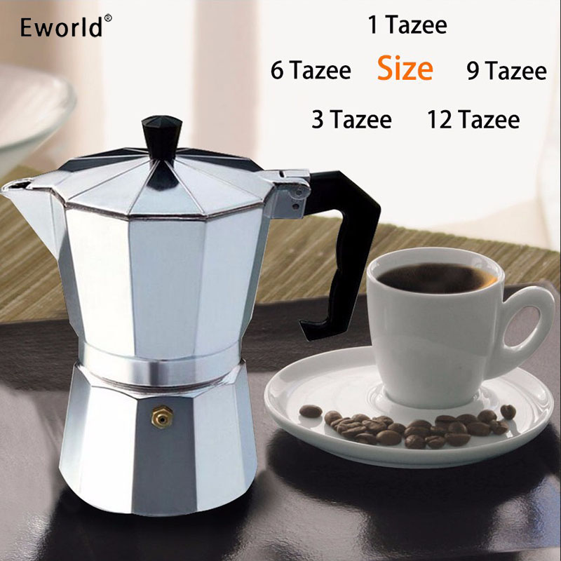 Eworld Glantop Alumini 1cup / 3cup / 6cup / 9cup / 12cup Top Stufë Italiane / Krijues kafeje Moka Espresso / Mjet Pot Percolator Transporti falas
