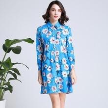 Women Blue Shirt dress new 2019 spring summer runways floral print Chic women long sleeve A228