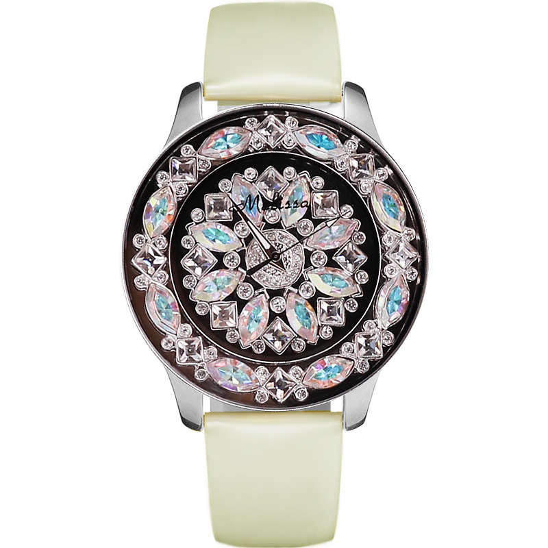 Melissa Lady Women s Watch Hours Japan Quartz Fashion Rhinestones Large Clock Genuine Leather Luxury Crystal