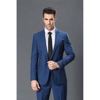 Costume Homme Slim Fit Blue Mens Suits 2pieces(Jacket+Pants+Tie) Slim Prom Masculino Trajes De Hombre Blazer