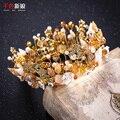 Mujeres chapado en oro de la corona de cristal Tiara real barroco del pelo adornos de concha reina floral diadema joyería de la boda de lujo huiqiu