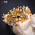 Women royal Tiara crystal gold plated crown baroque hair ornaments shell floral queen diadem luxurious wedding jewelry huiqiu