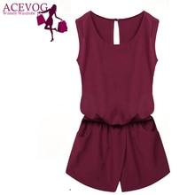 ACEVOG Summer Jumpsuit 2018 Women Playsuit Jumpsuit Casual Sexy Lady Sleeveless Backless Elastic Waist Print Mini Romper overall
