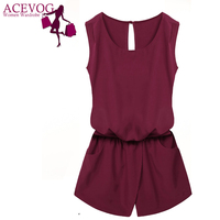 ACEVOG Brand 2016 Women Casual Summer Sexy Lady Sleeveless Solid Elastic Waist Backless Casual Mini Jumpsuit