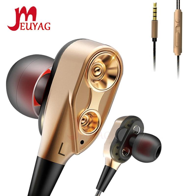 MEUYAG Dual Drive Bass Sound Earphone In-ear Headset Earbuds Sport Earphones With Mic For IPhone Xiaomi Huawei Fone De Ouvido