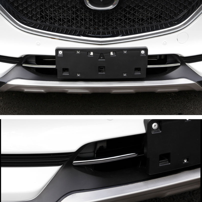 2pcs Chrome ABS Front Lower Grille Grill Strip Cover Trim For Mazda CX-5 2017-18