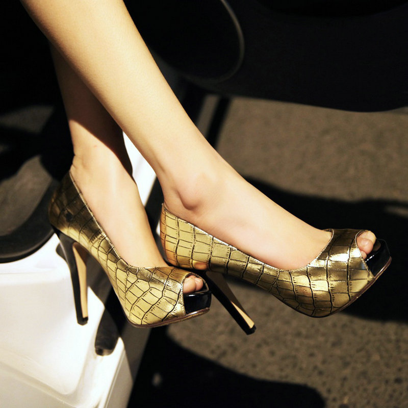 ФОТО Peep Toe Thin Heel Shoes 2016 Ladies Crocodile Faux Leather High-heeled Platform Single Shoes