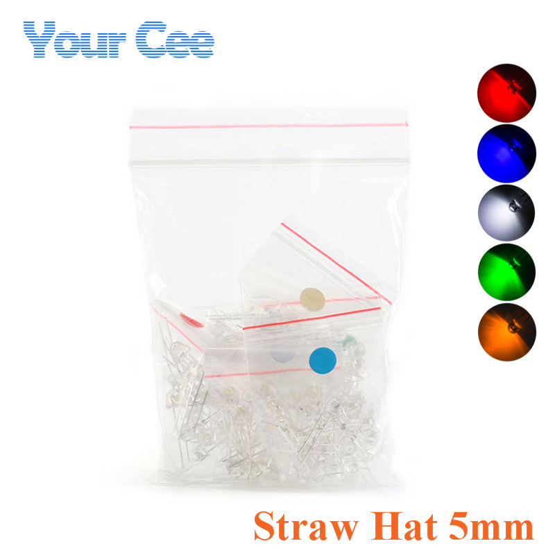 Electronic Components & Supplies Careful 50pcs 5mm 4.8mm Straw Hat Clear Warm White Green Red Blue Purple Yellow Orange Pink Rgb Diy Light Emitting Diode Set