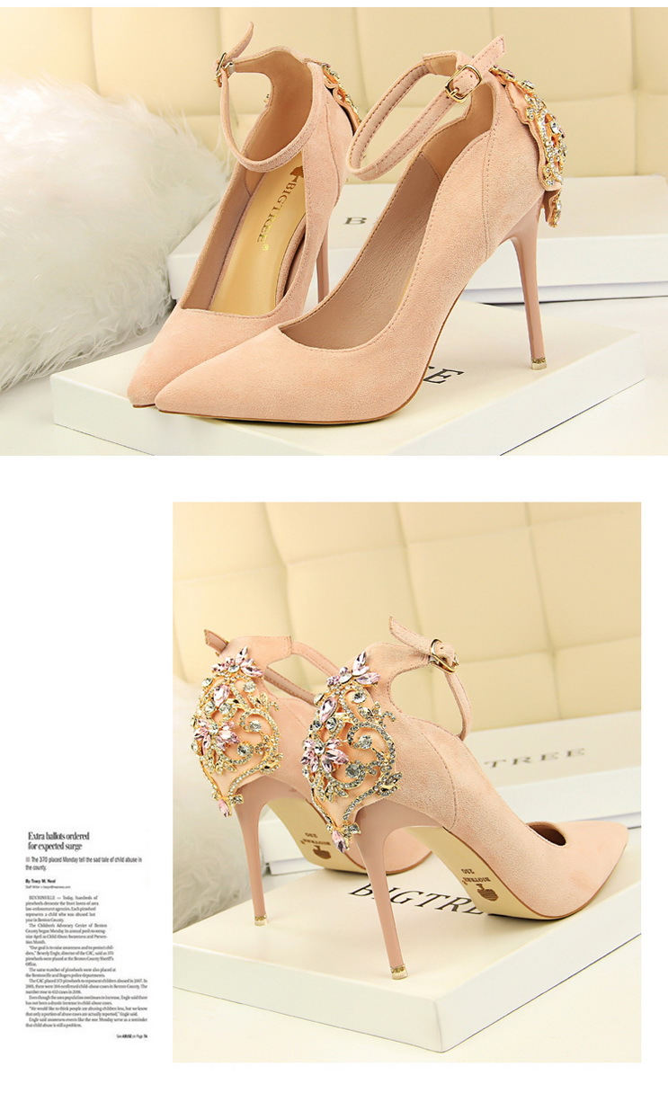 POADISFOO Women Elegant Crystal Pumps sexy thin shoes super high suede shallow mouth pointed rhinestone single shoe.DS-1717-5 18