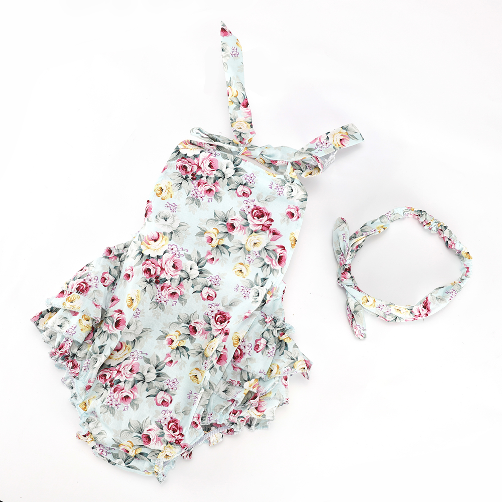 Baby Rompers Sleeveless Ruffled Flower Kids Jumpsuit Romper Onepiece Beach Photo Props With Bow Headband