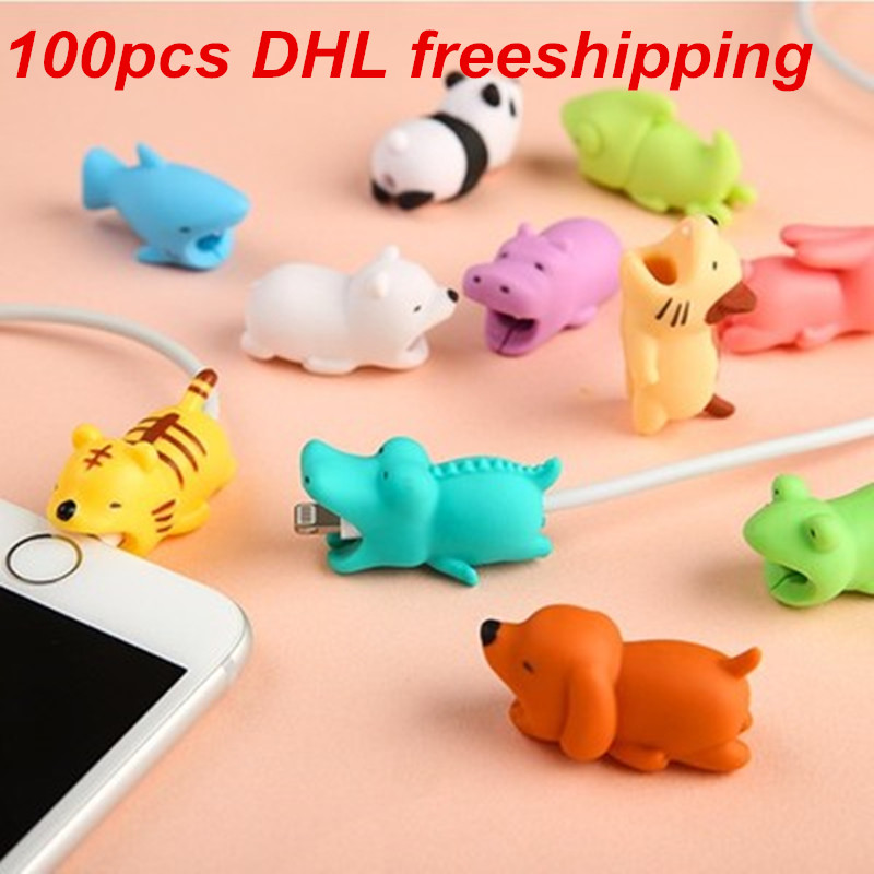 1 pcs Cable bites Protector for Iphone cable Winder Phone holder Accessory chompers rabbit dog cat Animal doll model funny